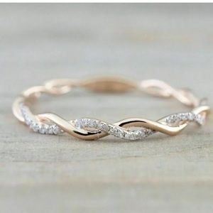 14K Rose Gold Stack Twisted Ring Gorgeous Ring